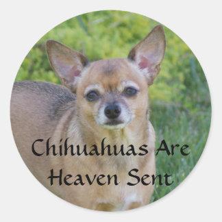 Chihuahuas Are Heaven Sent Round Sticker