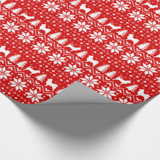 Chihuahuas Christmas Sweater Pattern Red Wrapping Paper