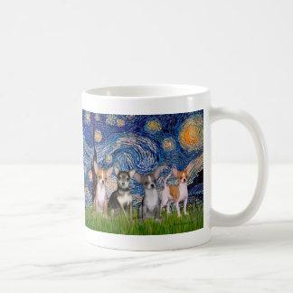 Chihuahuas (four) - Starry Night Coffee Mug