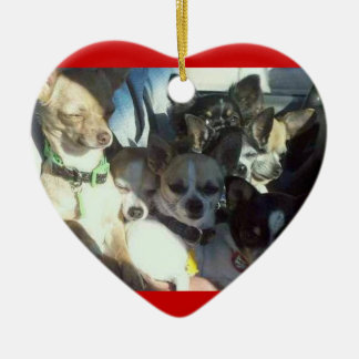 Chihuahuas Heart Ornament