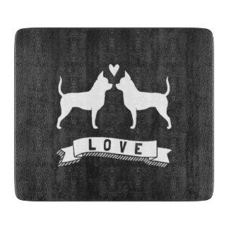 Chihuahuas Love - Dog Silhouettes w/ Heart Cutting Board