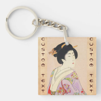 Chikanobu Yoshu True Beauties Unknown Title Double-Sided Square Acrylic Key Ring