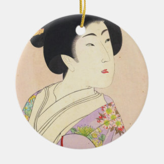 Chikanobu Yoshu True Beauties Unknown Title Round Ceramic Decoration