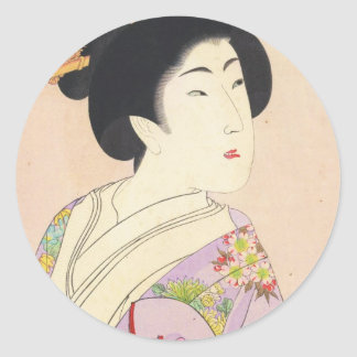 Chikanobu Yoshu True Beauties Unknown Title Round Sticker
