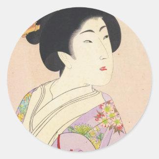 Chikanobu Yoshu True Beauties Unknown Title Round Sticker