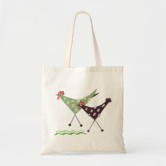 Chikens, run! folk art tote bag