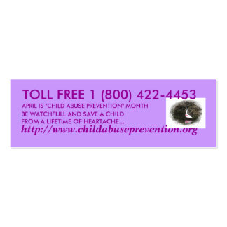 Child Abuse Prevention Pack Of Skinny Business Cards