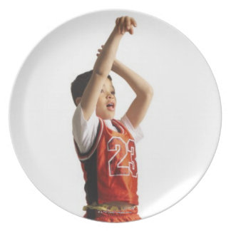 child african american male basketball player in plate