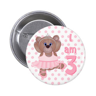 Child Age 3 Years Cute Teddy Bear Ballerina Button