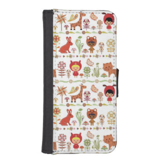 Child and Animals Pattern iPhone SE/5/5s Wallet Case