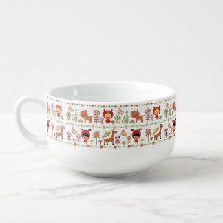 Child and Animals Pattern Soup Mug