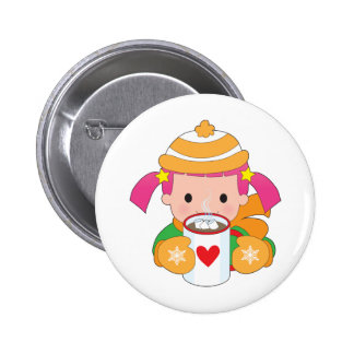Child and Hot Chocolate Button