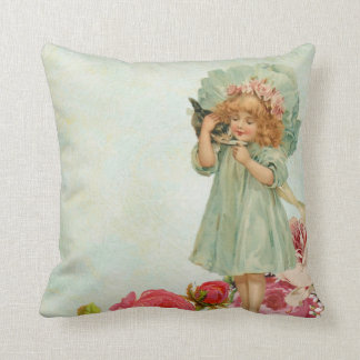 Child and little kitty vintage throw pillow