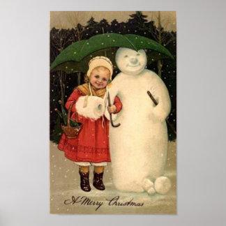 Child and Snowman Christmas Card Print