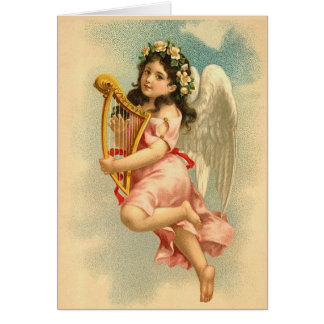 Child Angel with Harp Vintage Greeting Cards