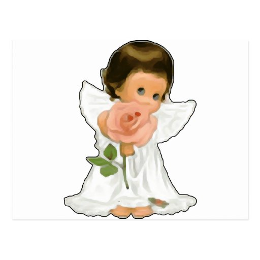Child Angel with Rose Post Card