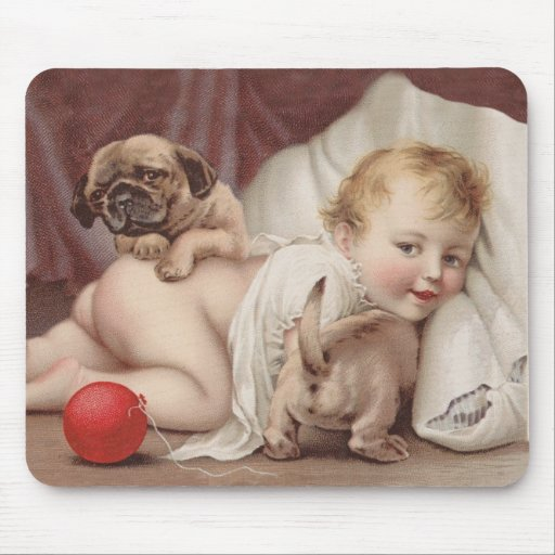 Child at play with pugs mouse pads