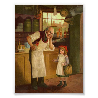 Child at the General Store Vintage Art Print