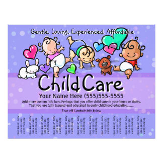 Child Care.Babysitting.Day Care.Custom text/color 21.5 Cm X 28 Cm Flyer
