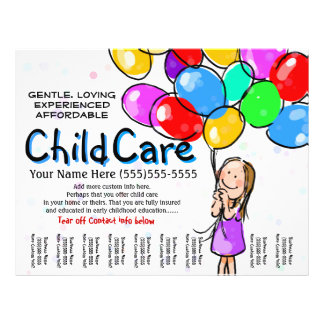 Child Care. Babysitting. Day Care. Promo 21.5 Cm X 28 Cm Flyer