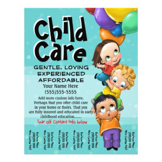 Child Care. Babysitting. Day Care. Tear sheet 21.5 Cm X 28 Cm Flyer