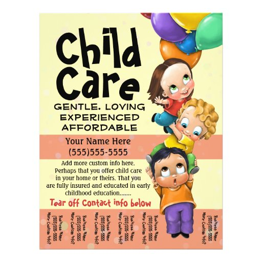 Child Care. Babysitting. Day Care. Tear sheet Custom Flyer