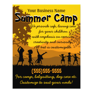 Child Care Day Care Babysitting Summer Camp 4x5 11.5 Cm X 14 Cm Flyer