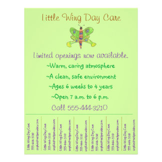 Child care flyer / day care flyer w/ tear-off info