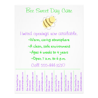 Child care flyer day care flyer w tear-off info
