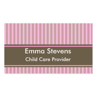 Child Care Pink Stripes, Brown Business Card Templ