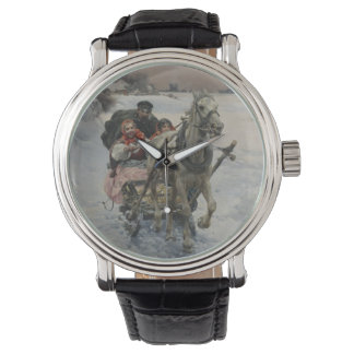 Child Driving a Horse Drawn Sleigh Wristwatches