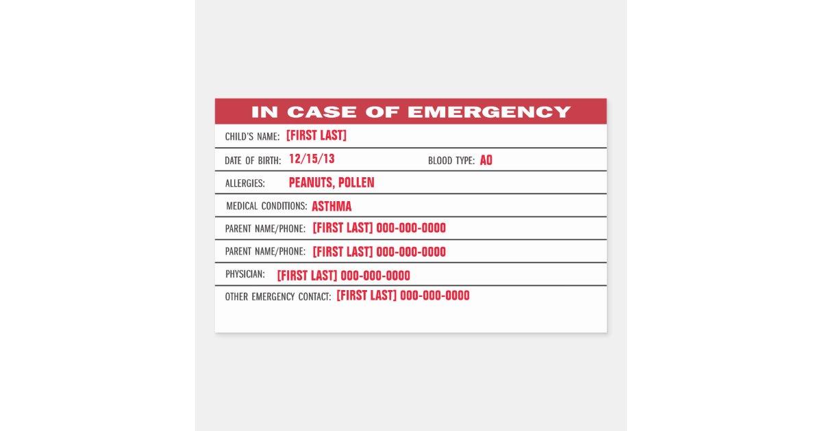 Child emergency information sticker zazzle co uk