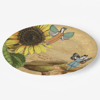 Child Fairies Sunflower and Mushrooms 9 Inch Paper Plate