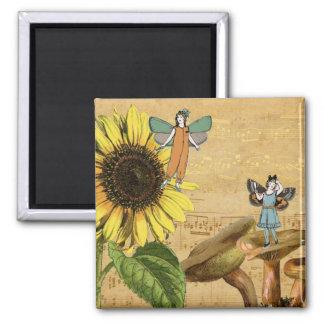 Child Fairies Sunflower and Mushrooms Magnet
