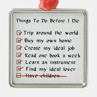 Child-Free Checklist Christmas Ornament