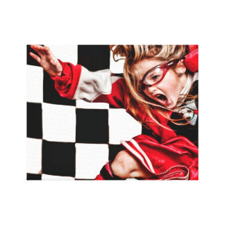 Child Girl Athlete Red Uniform kids soccer Stretched Canvas Print