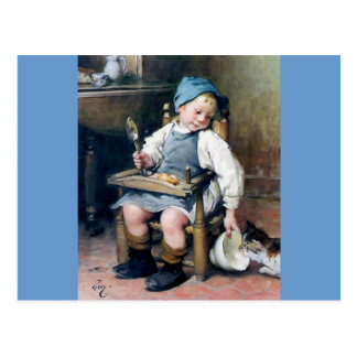Child Giving Food to Kitten antique painting Postcard