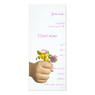 Child Hand Holding Flowers 10 Cm X 24 Cm Invitation Card