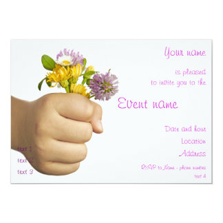 Child Hand Holding Flowers 13 Cm X 18 Cm Invitation Card