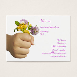 Child Hand Holding Flowers Business Card