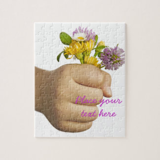 Child Hand Holding Flowers Jigsaw Puzzle