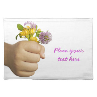 Child Hand Holding Flowers Placemat