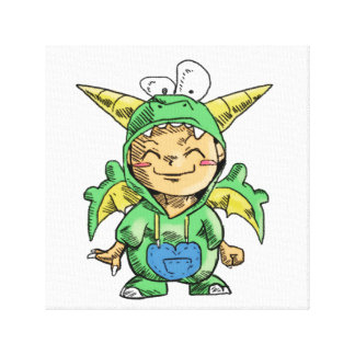 Child in Cute Dragon Costume Stretched Canvas Print