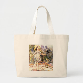 Child in Garden Large Tote Bag