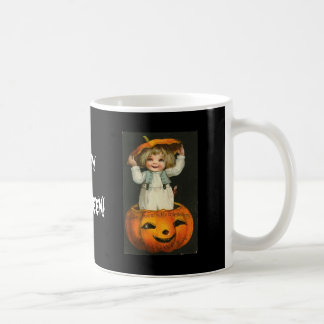 child in jackolantern basic white mug