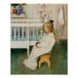 Child in Nursery with Yellow  Tulip Print