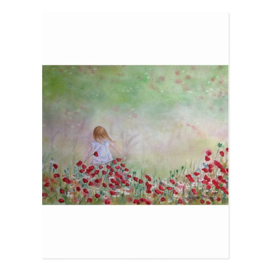 Child In the field of flowers Postcard