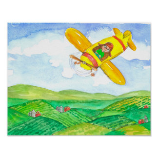 Child in Yellow Airplane Poster