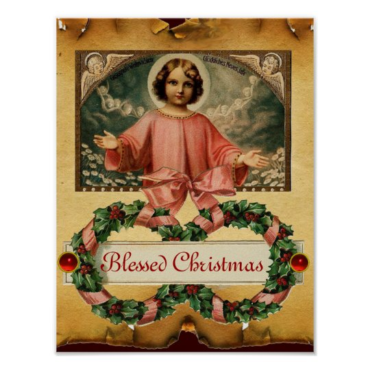 CHILD JESUS WITH ANGELS AND CHRISTMAS CROWNS POSTER