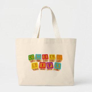 Child Life Blocks totebag Large Tote Bag